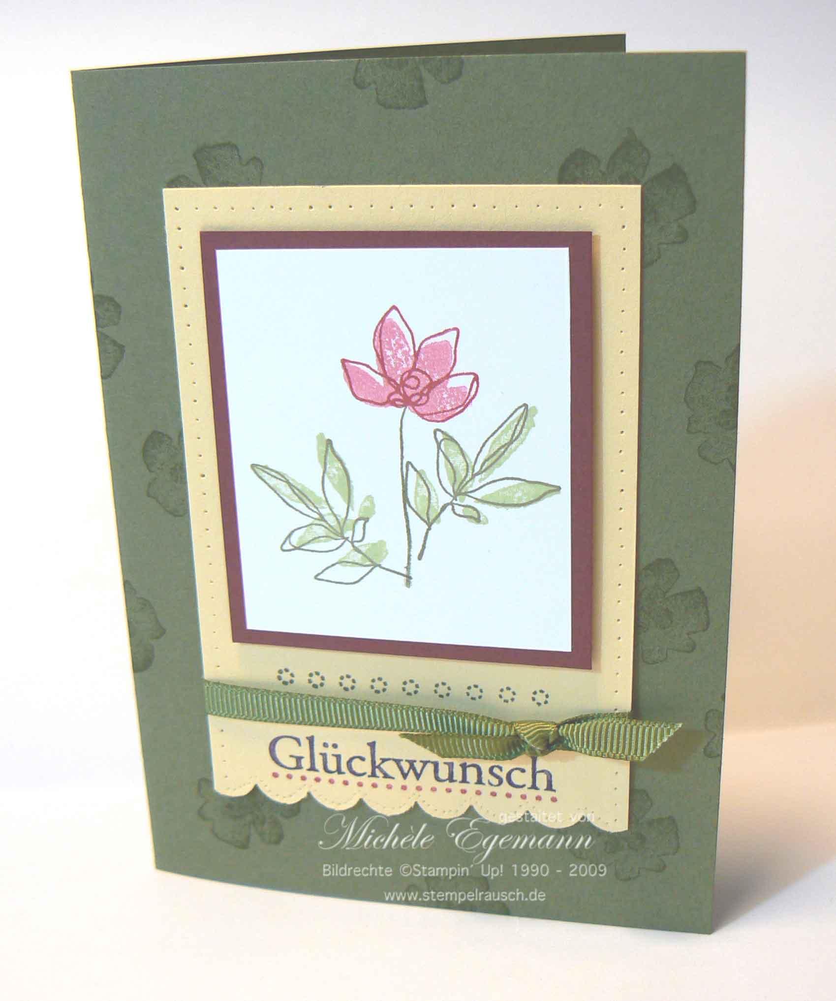 Glückwunschkarte mit Botanischen Blumen