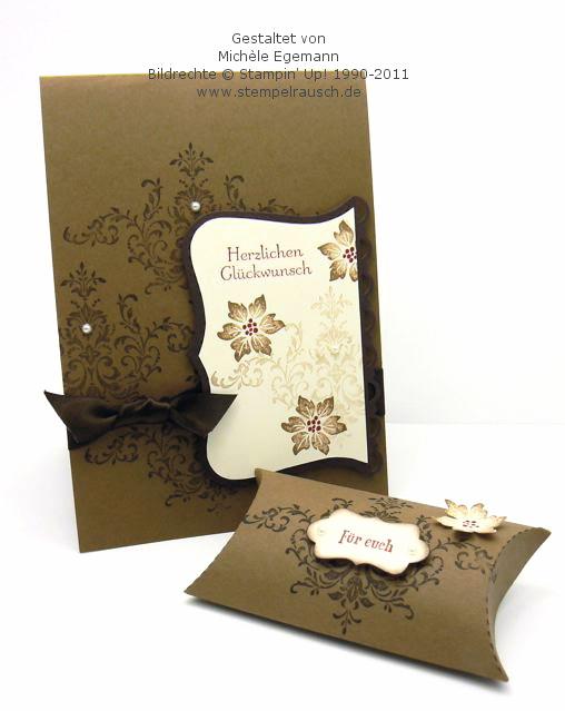 Glückwunschkarte und eine Pillow Box