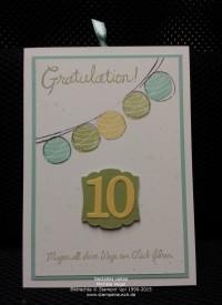 Glückwunschkarte und Gutscheinverpackung zum 10. Geburtstag