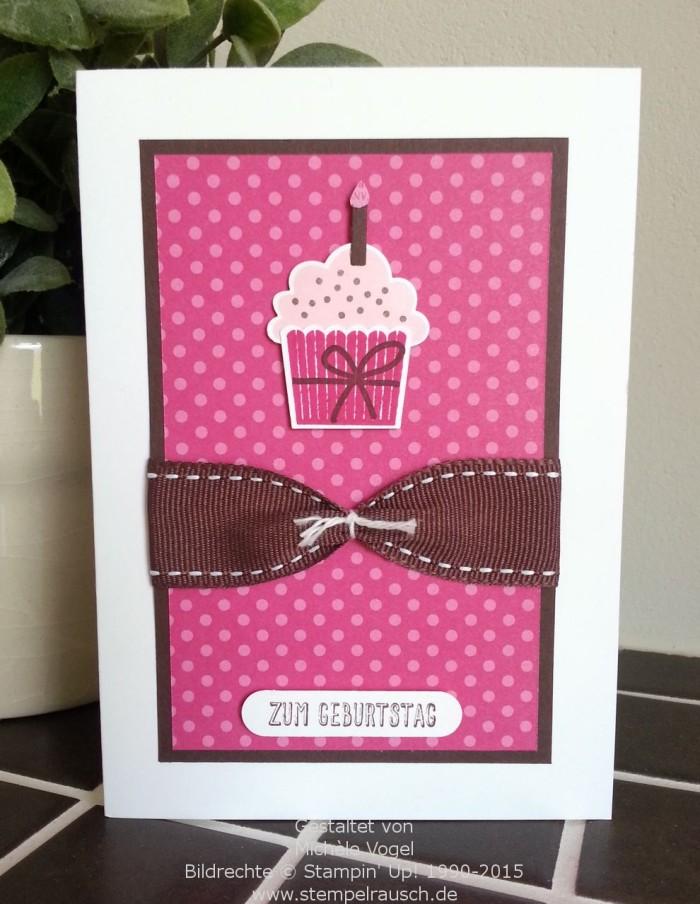 Geburtstagskarte mit den Stempelsets Eins für Alles und Geburtstagstörtchen