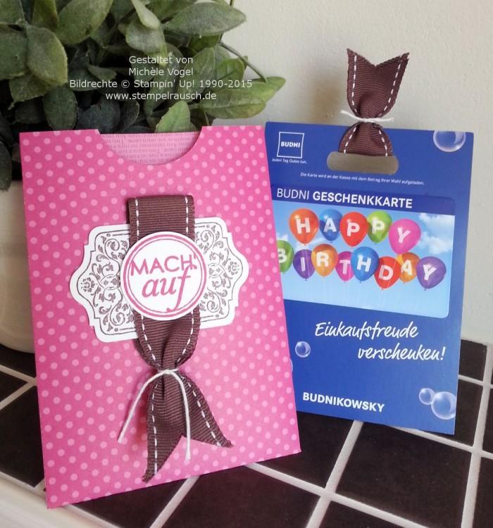 Gutscheinverpackung für einen Shoppinggutschein bzw. Geschenkkarte