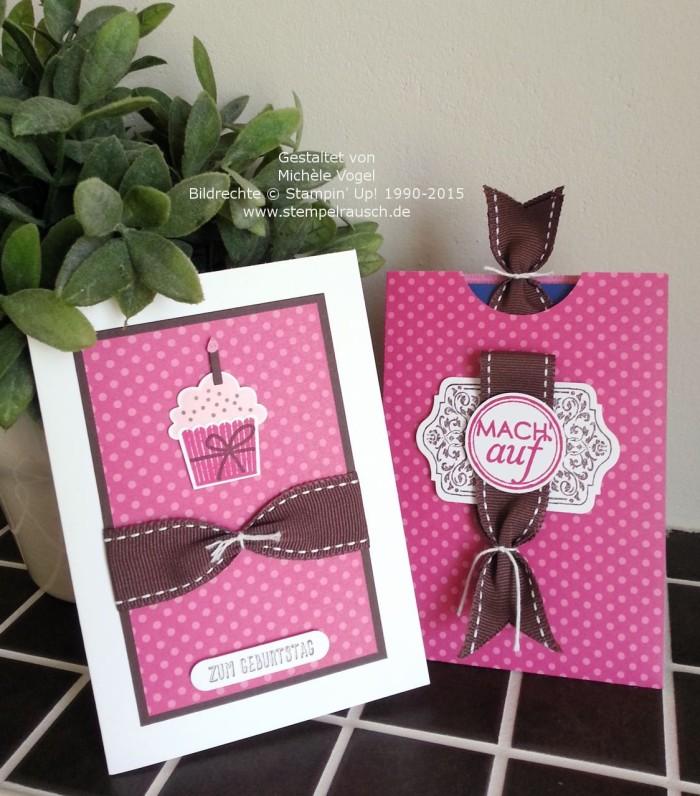 Gutscheinverpackung mit Geburtstagskarte mit den Stempelsets Eins für Alles, Tafelrunde und Geburtstagstörtchen