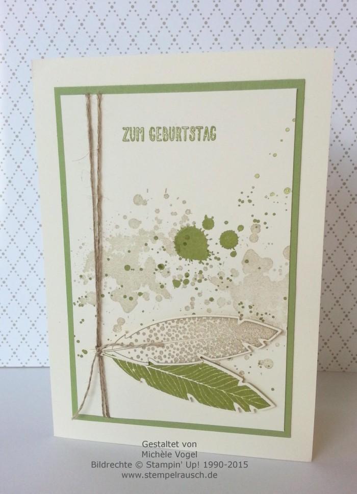 Stampin Up-Four Feathers-Gorgeous Grunge-Eins für alles-Glückwunschkarte-Zum Geburtstag-Farngrün