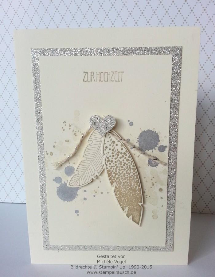 Stampin Up-Four Feathers-Gorgeous Grunge-Eins für alles-Glückwunschkarte-Zur Hochzeit 2