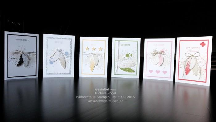Stampin Up-Four Feathers-Gorgeous Grunge-Eins für alles-Glückwunschkarten-Grusskarten