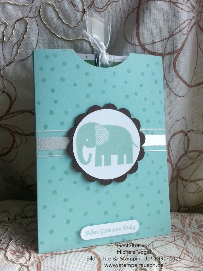 Gutscheinverpackung-für-Shoppinggutscheine-Geschenkkarten-Zoo Babies-Elefant-Aquamarin-1