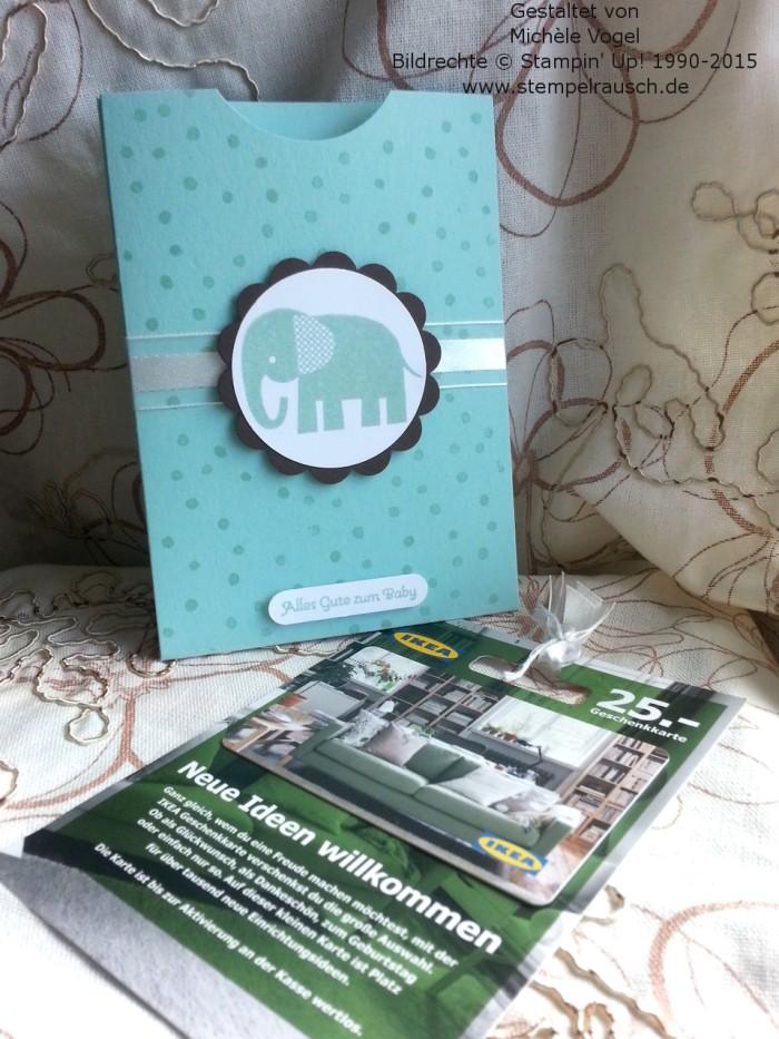 Gutscheinverpackung-für-Shoppinggutscheine-Geschenkkarten-Zoo Babies-Elefant-Aquamarin-2