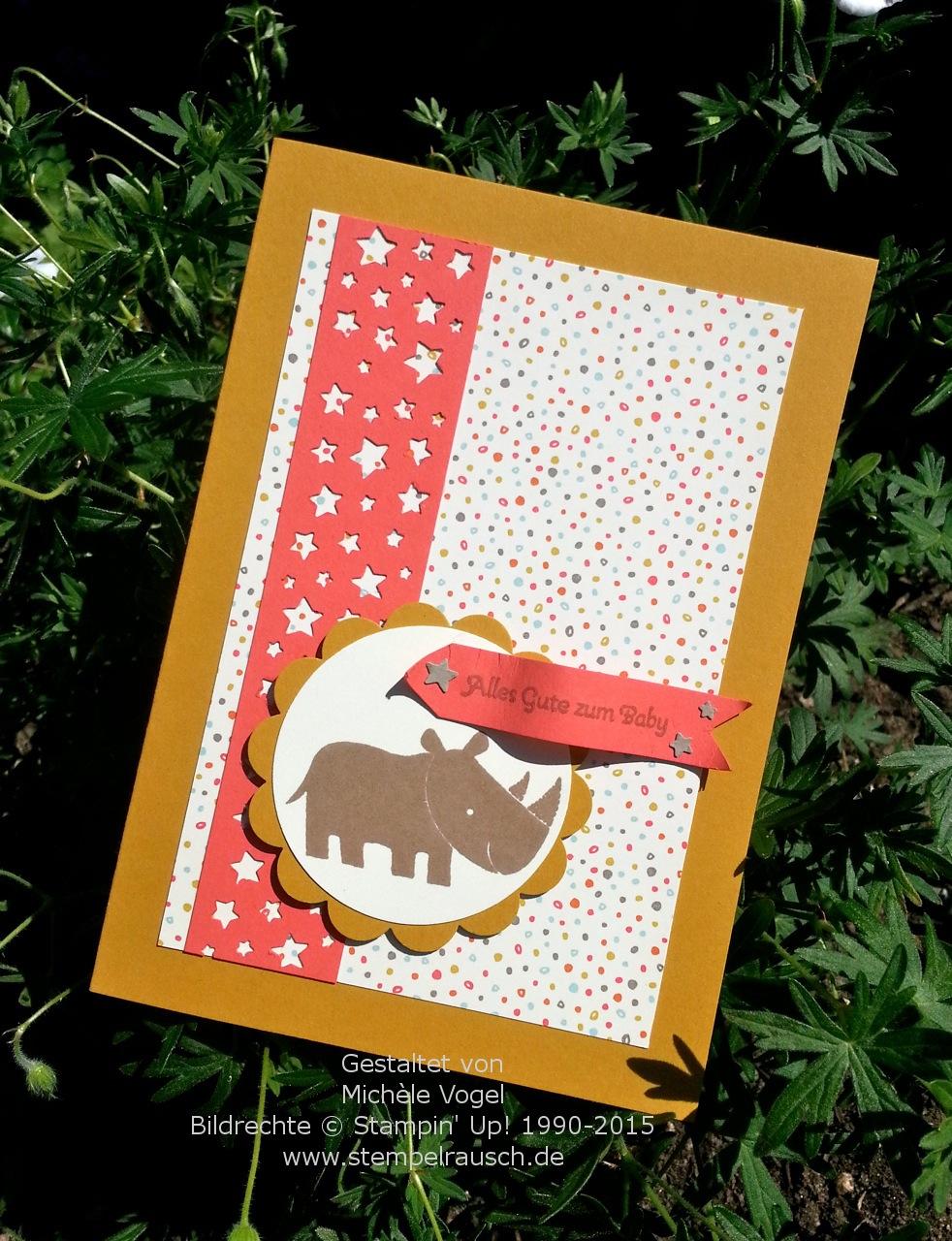 Babykarte Mit Dem Stampin Up Stempelset Zoo Babies