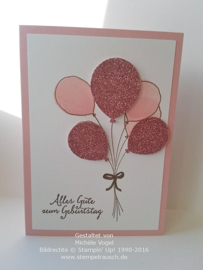 Stampin Up_Geburtstagskarte_Partyballons_Stanze Luftballons_Kirschbluete_Fluesterweiss_Wildleder_Glitzerpapier Kirschbluete_1