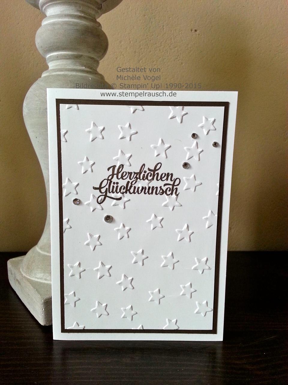 Geburtstagskarte mit geprägten Sternen