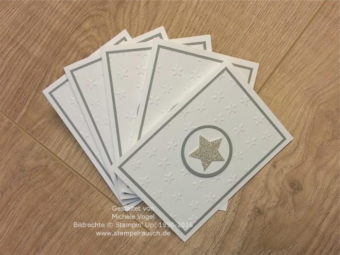 Stampin Up_Sternenkarte_Weihnachtskarte_Praegeform Glueckssterne_Schiefergrau_Fluesterweiss_Gliterpapier Silber