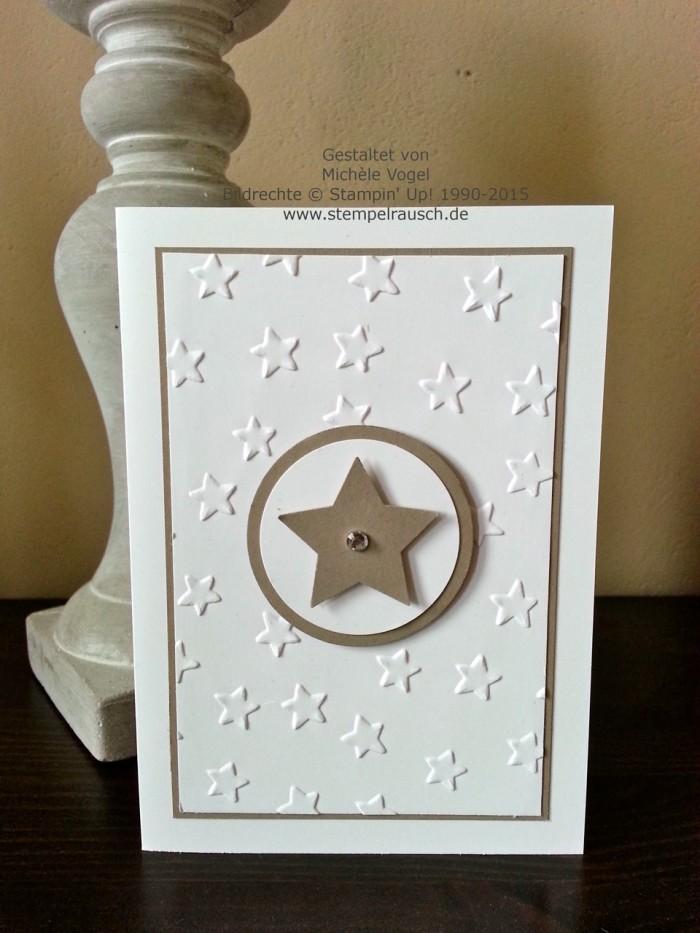 Stampin Up_Sternenkarte_Weihnachtskarte_Praegeform Glueckssterne_Taupe und Fluesterweiss