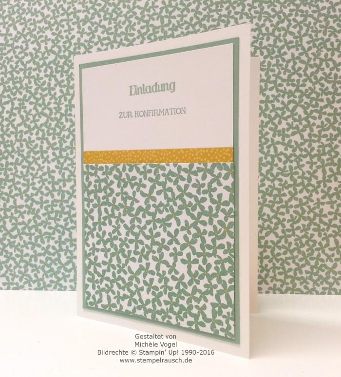 Stampin Up_Einladungskarte zur Konfirmation_Stempelset Eins für alles_Designerpapier Botanischer Garten