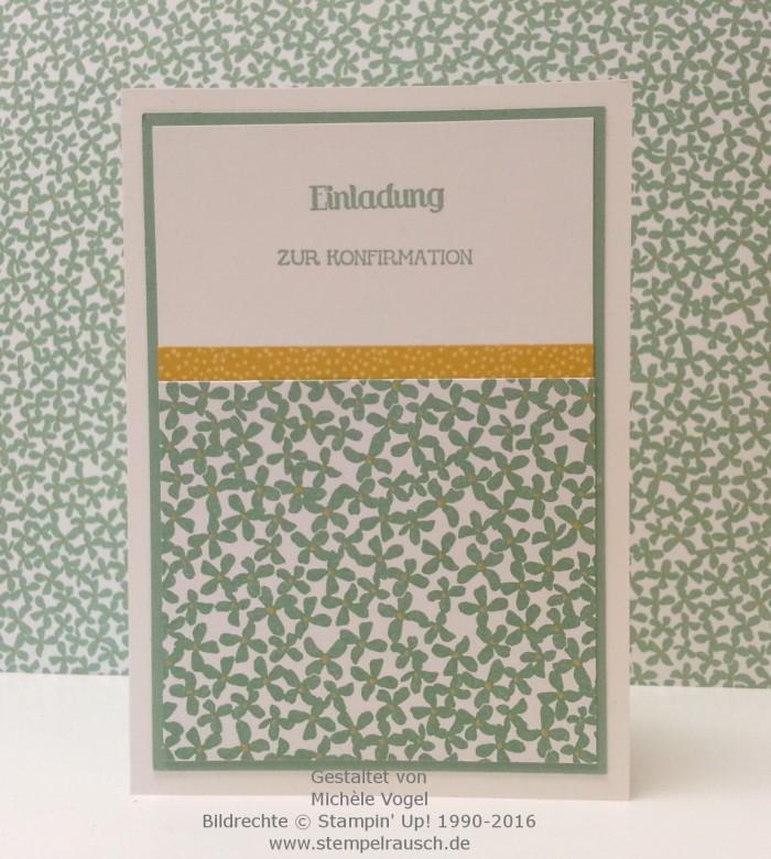 Stampin Up_Einladungskarte zur Konfirmation_Stempelset Eins für alles_Designerpapier Botanischer Garten_