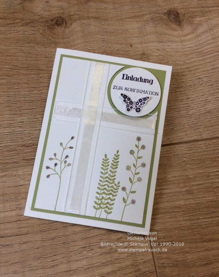 Stampin Up_Einladungskarte_zur Konfirmation_Stempelset_Papillon Potpourri_Eins für alles_Flowering Fields_2