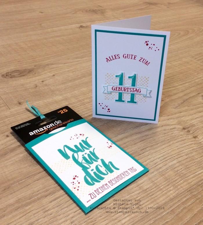 Stampin Up_Geburtstagskarte_Gutscheinverpackung zum 11. Geburtstag_Stempelset_So viele Jahre_Timeless Textures_Blumen fuer dich_www.stempelrausch.de