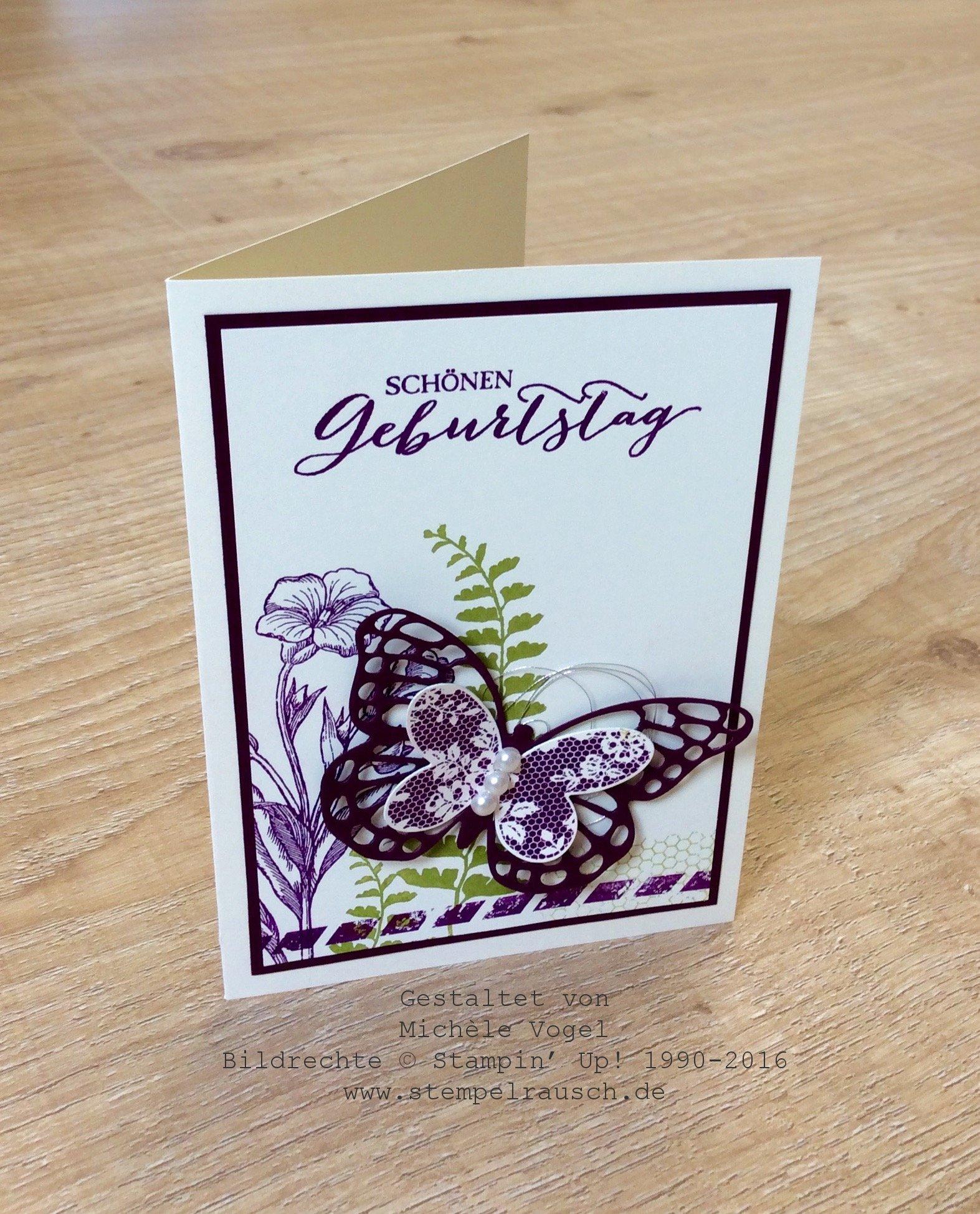 Geburtstagskarte mit Schmetterlingsgruß