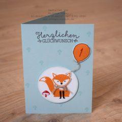 Karte zum 1. Geburtstag mit Foxy Friends
