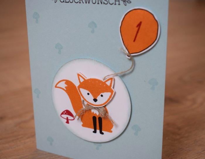 Stampin Up_Karte zum 1. Geburtstag_Foxy Friends_Elementstanze Fuchs_Wunderbare Worte_Partyballons_www.stempelrausch.de_