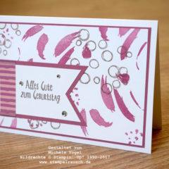 Geburtstagskarte mit den Stempelsets Playful Backgrounds und Erfreuliche Ereignisse