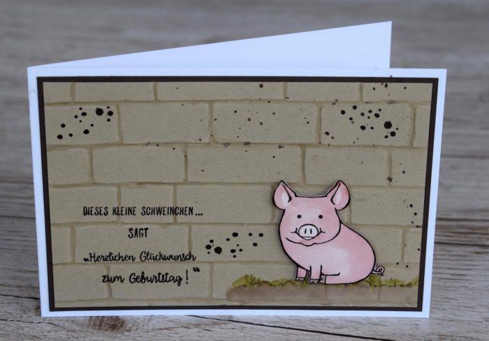 Stampin' Up! Geprägte Männerkarte mit Glücksschweinchen, Timeless Textures und Alles Liebe Geburtstagskind. www.stempelrausch.de