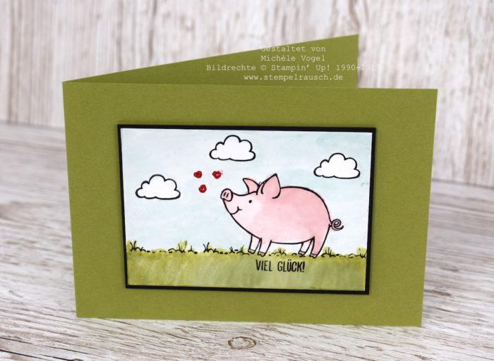 Grusskarte mit der Aquarelltechnik. Mit dem Aqua Painter und dem Glanzkarton mit dem Stempelset Glücksschweinchen von Stampin' Up! www.stempelrausch.de