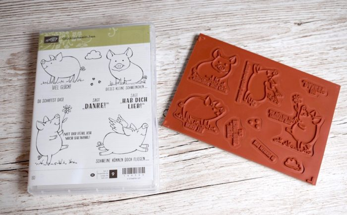 Stampin' Up! Stempelset Glücksschweinchen bestehend aus 9 Gummistempeln. Acrylblöcke immer separat erhältlich. www.stempelrausch.de