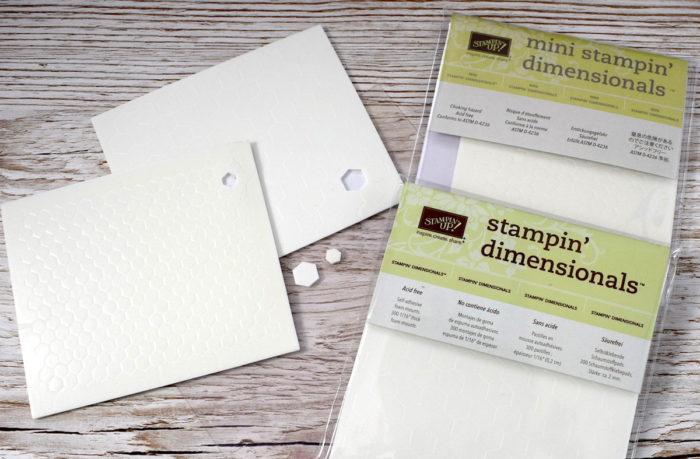 Größenunterschied zwischen den Stampin' Up! Dimensionals und den Mini Stampin Dimensionals von Stampin' Up! www.stempelrausch.de