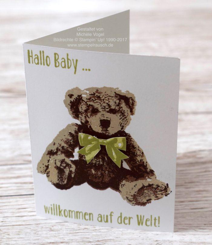 Stampin-Up_Babykarte_Karte zur Geburt_Stempelset Unentbärliche Grüße_stempelrausch.de
