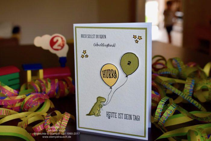 Geburtstagskarte für einen Jungen, Glückwunschkarte zum 2. Geburtstag, Stampin' Up! Stempelset Dies das, Alles Liebe Geburtstagskind, Partyballons, Labeler Alphabet www.stempelrausch.de.jpg