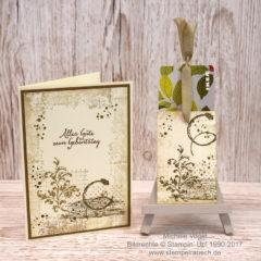 Geburtstagskarte mit passender Gutscheinverpackung mit Timeless Textures
