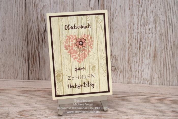 Glückwunschkarte - Karte zum 10. Hochzeitstag, Stampin Up Stempelset Meilensteine, Blüten der Liebe, Hardwood. Vanille Pur und Schokobraun und Blüte in Puderrosa. www.stempelrausch.de