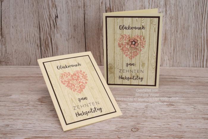 Glückwunschkarte - Karte zum 10. Hochzeitstag, Stampin Up Stempelset Meilensteine, Blüten der Liebe, Hardwood. www.stempelrausch.de