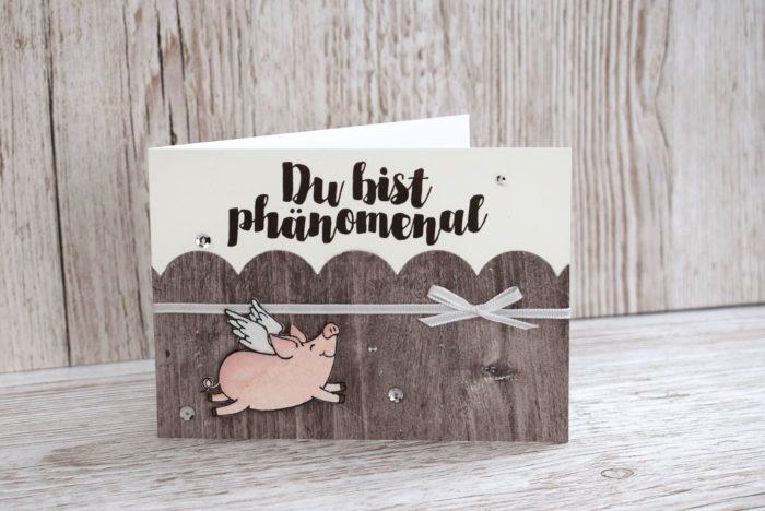 Grusskarte, Karte Schweine, Schweinekarte, Schweinchenkarte, Stampin' Up! Stempelset Glücksschweinchen, Post mit PS. www.stempelrausch.de