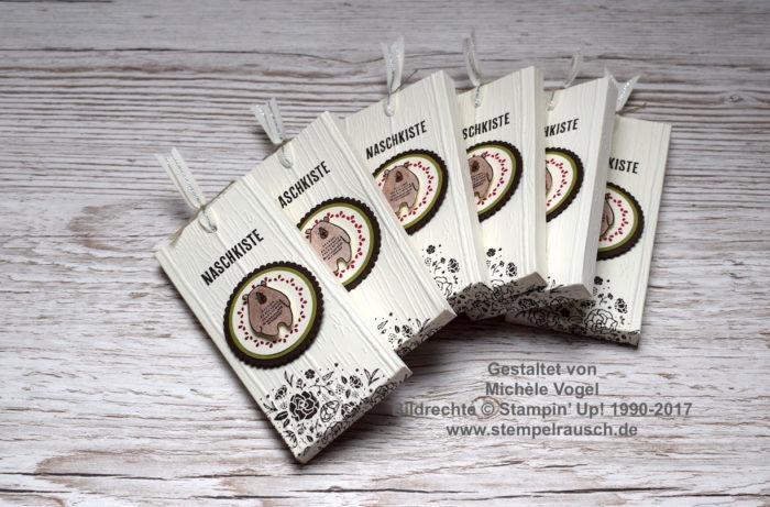 Schokoladen-Ziehverpackung - Schokifahrstuhl Stempelset Kreativkiste, Dies & das, Quartett fürs Etikett, Prägeform Holzdielen www.stempelrausch.de