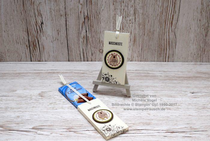 Schokoladen-Ziehverpackung - Schokifahrstuhl Stempelset Kreativkiste Dies & das, Quartett fürs Etikett, Prägeform Holzdielen www.stempelrausch.de