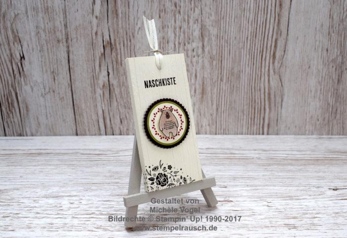 Schokoladen-Ziehverpackung - Schokifahrstuhl Vorderseite, Stempelset Kreativkiste, Dies & das, Quartett fürs Etikett, Prägeform Holzdielen www.stempelrausch.deJPG