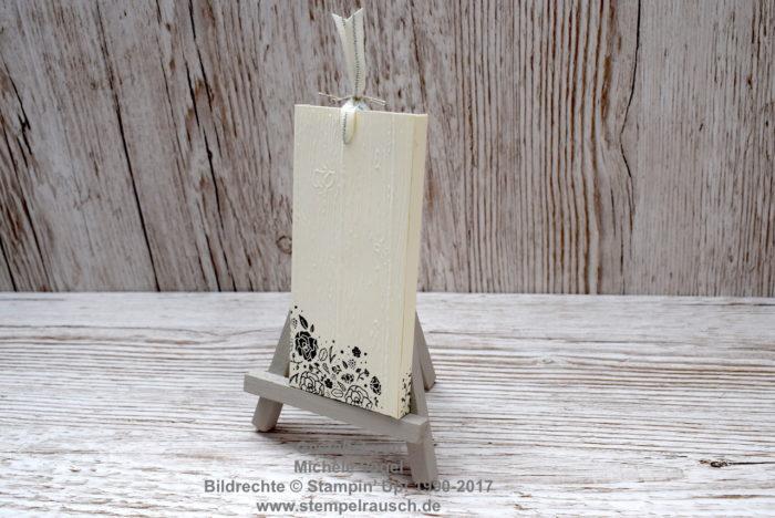 Schokoladen-Ziehverpackung - Schokifahrstuhl Rückseite, Stempelset Kreativkiste, Dies & das, Quartett fürs Etikett, Prägeform Holzdielen www.stempelrausch.de