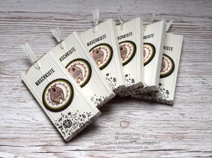 Stampin' Up! Swaps_Schokoladenverpackung mit den Stempelsets Kreativste, Dies & das und Quartett fürs Etikett. Außerdem mit der Big Shot und der Prägeform Holzdielen geprägt.