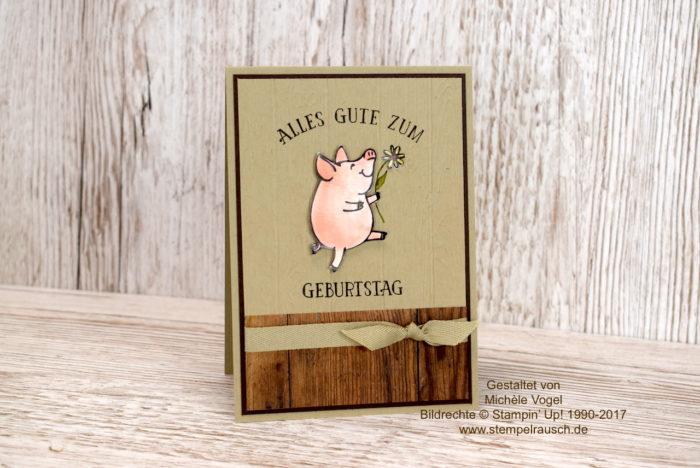 Maskuline Geburtstagskarte, Männerkarte, Holzhintergrund Holzdielen, Aquarelltechnik, Stampin' Up! Stempelset Glücksschweinchen und So viele Jahre - www.stempelrausch.de