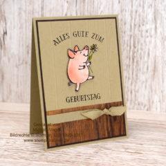 Maskuline Geburtstagskarte mit Holzhintergrund