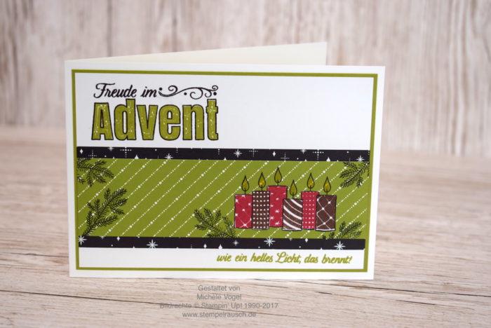 Weihnachtskarte mit Kerzen und mit dem Stempelset Freude im Advent - Stampin' Up! www.stempelrausch.de