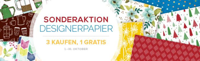 Sonderaktion Designerpapier von Stampin' Up! 3 kaufen, 1 gratis erhalten. www.stempelrausch.de
