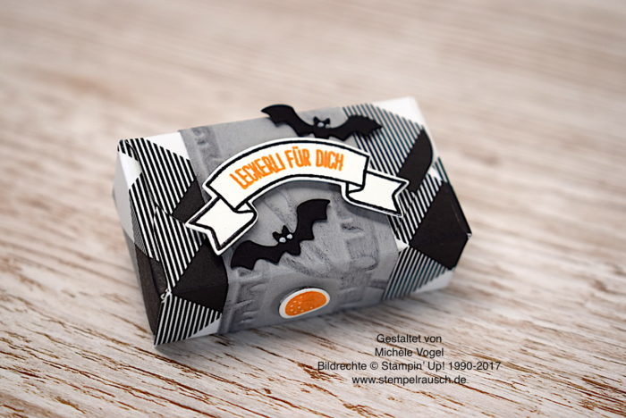Halloween-Verpackung Naschiverpackung für Schokolinsen mit dem Stempelset Ein Haus für alle Fälle, Prägeform Im Wald, Thinlits Zu Hause, DSP Frohes Fest von Stampin' Up! www.stempelrausch.de