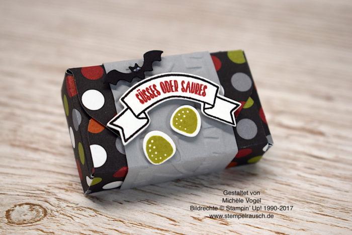 Halloween-Verpackung Naschiverpackung für Schokolinsen mit dem Stempelset Ein Haus für alle Fälle, Thinlits Zu Hause, Prägeform Im Wald von Stampin' Up! www.stempelrausch.de