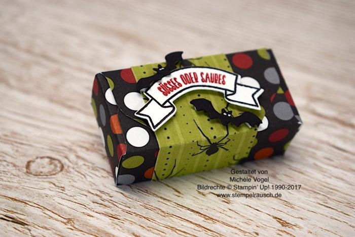 Halloween-Verpackung Naschiverpackung für Schokolinsen mit dem Stempelset Ein Haus für alle Fälle, Thinlits Zu Hause von Stampin' Up! www.stempelrausch.de