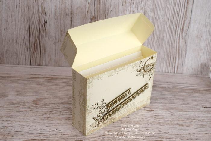 Kartenbox basteln zum Aufbewahren von Karten mit dem Stempelset Timeless Textures und Labeler Alphabet von Stampin' Up! www.stempelrausch.de