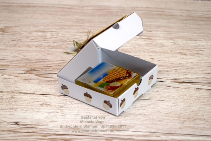 Mini-Pizzaschachtel / Naschiverpackung, Stempelset Herbstanfang, Designerpapier Holzdekor von Stampin' Up! www.stempelrausch.de
