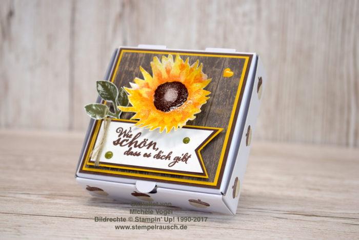 Mini-Pizzaschachtel bzw. Naschiverpackung mit Sonnenblume und Spruch aus dem Stempelset Herbstanfang, Designerpapier Holzdekor von Stampin' Up! www.stempelrausch.de