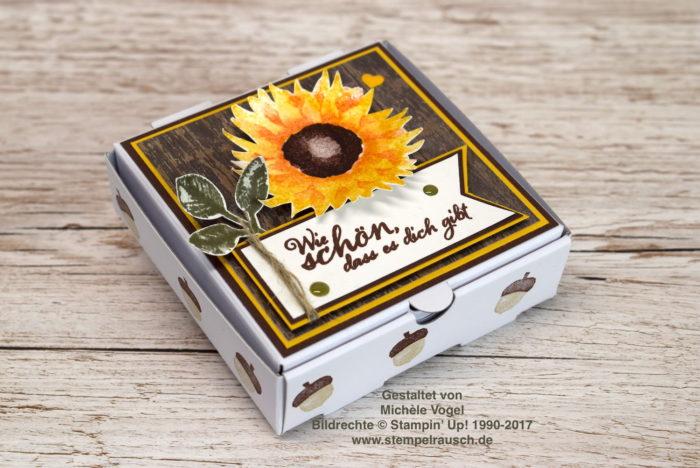 Mini-Pizzaschachtel mit Sonnenblume und Spruch aus dem Stempelset Herbstanfang, Designerpapier Holzdekor von Stampin' Up! www.stempelrausch.de